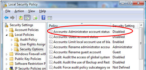 Activate Vista hidden Administrator Account active:yes