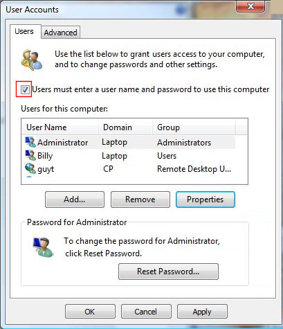 Check Vista User Accounts
