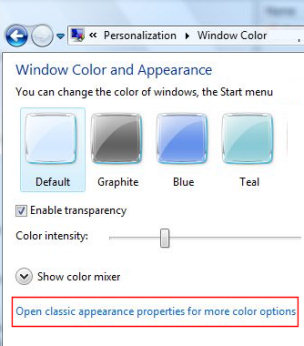 Open classic appearance properties for more color options - Vista Aero