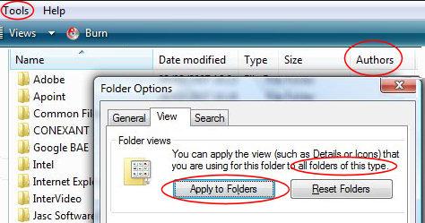 Windows Vista - Apply to Folders