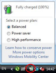 Vista: Click the Battery in the Navigation Area