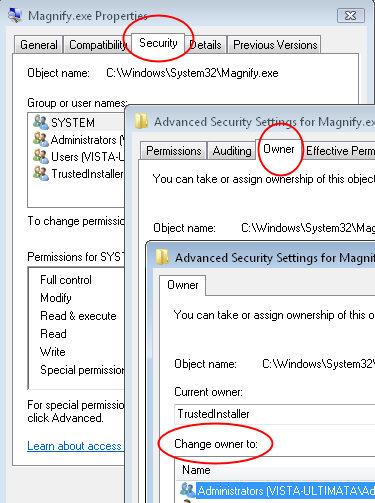 Vista Take Ownership Windows\system32
