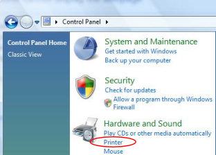 Vista Control Panel Hardware and Sound --> Printers