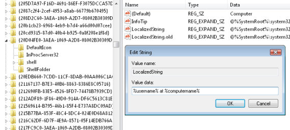 shows regedit displaying the REG_EXPAND_SZ LocalizedString.