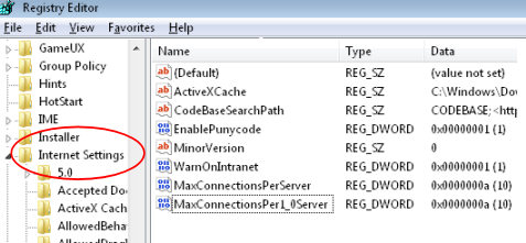 Increase Simultaneous Downloads MaxConnectionsPerServer - Network Configuration
