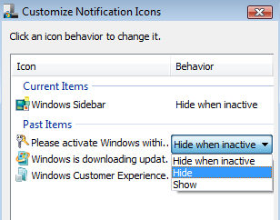 Hide Notification Icons in Windows Vista