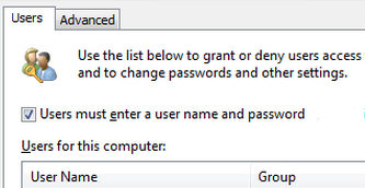 Users must enter a user name and password