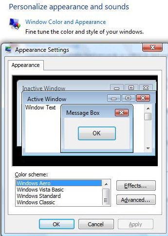 Windows Aero - Appearance Settings