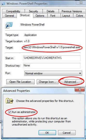 Vista Powershell shortcut