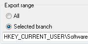 Regedit Export - Selected Branch