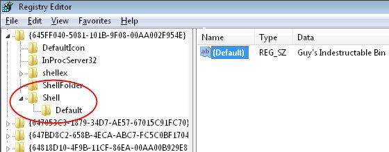 Screenshot of Delete Recycle Bin Registry Setting