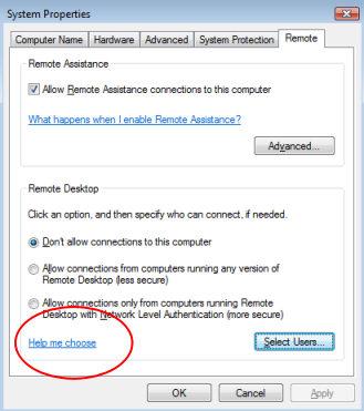 Windows Vista Remote Desktop