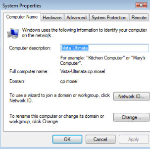 Windows Vista - System Icon, General Tab