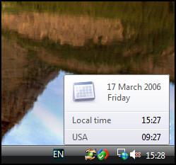 Vista new alternative time zone settings for clock