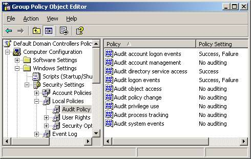 Security in Windows Server 2003 - Set Audit, check event id