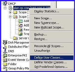 DHCP Define User Classes