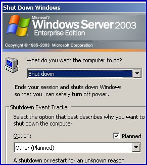 Turn off Shutdown Event Tracker in Windows Server 2003