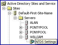 Global Catalog Servers NTDS Settings