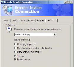 Remote Desktop Connection for Terminal Services