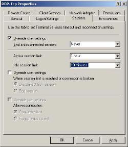 RDP Remote Desktop Protocol over TCP settings