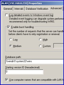 WINS Server Backup and Burst Handling Windows 2003