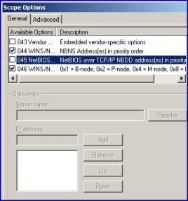 WINS and DHCP options 044 and 046 h-node, m-node.