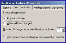 WINS replication PUSH PULL partners
