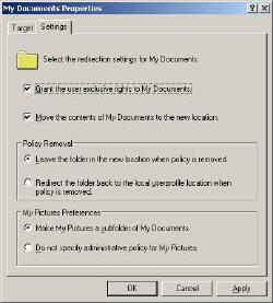 Folder Redirection Settings
