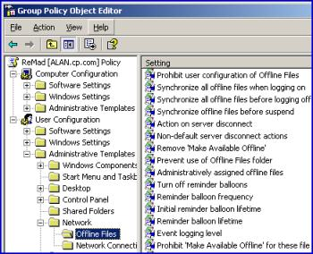 Group Policy Network Settings for users Windows server 2003