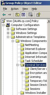 Group Policy Terminal Services Windows Server 2003