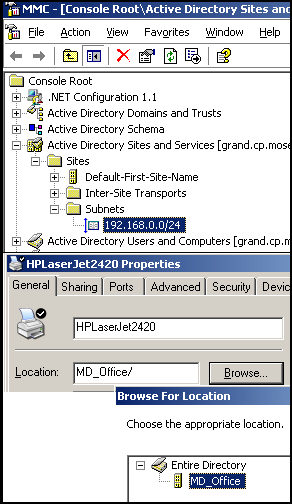 Printer Locations. Subnets, Printers, Group Policy settings