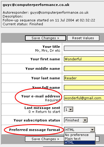 How to make AutoResponder Changes