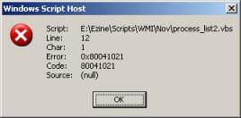 Error Code 80041021 WMI VBScript