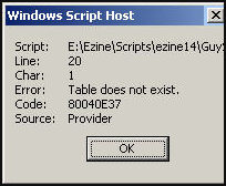 Look for clues in the 800 error message - Troubleshooting VBscript