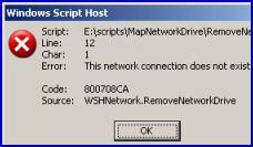 Code 800704CA - Error: This network connection does not exist.