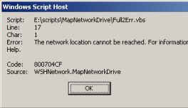 err.number VBScript error correcting code MapNetworkDrive