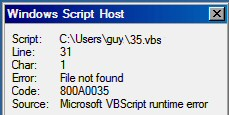 Code Error 800A0035 File not found