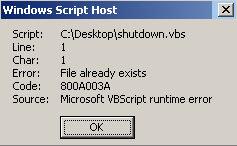 Code 800A003A  - Folder already exists