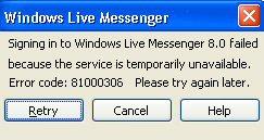 MSN Messenger 8.0 Error Code - 81000306