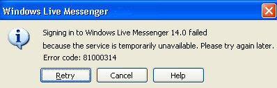 MSN Messenger 80 Error Code