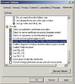 Regedit Empty Temporary Internet files