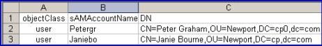 LDAP Fields for Excel  DN sAMAccountName, objectClass