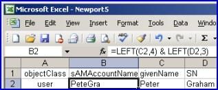 Excel Spreadsheet derive LDAP fields sAMAccountname, DN