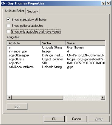 VBScript for Windows 2003 - Use ADSI Edit to discover LDAP