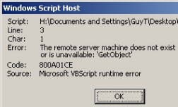Code 800A01CE - Remote Server does not exist
