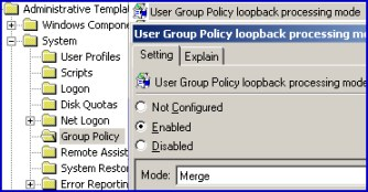 User Group Policy loopback processing mode Printer Logon Scripts for computers