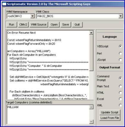 Free Download Scriptomatic v2  Example WMI and VBScript