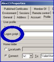 Assigning Windows Logon Scripts via Properties page, Profile Tab