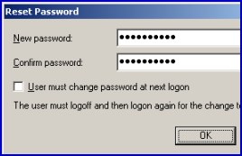Example script to change a password with objUser.setpassword method
