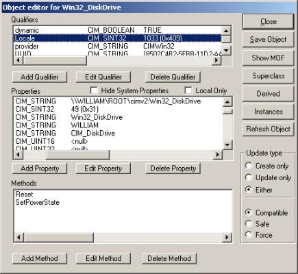 WBEMTEST Win32_DiskDrive